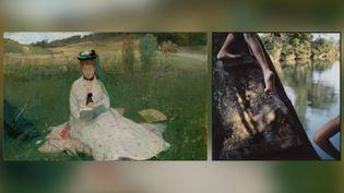 """A gauche, Berthe Morisot, """"La Lecture (L'Ombrelle verte""""), 1873, Cleveland Museum of Art, don du Hanna Fund - A droite, Sally Mann, """"Bean's Bottom"""", c. 1991, Sally Mann private collection (A gauche © Cleveland Museum of Art - A droite © Sally Mann)"""