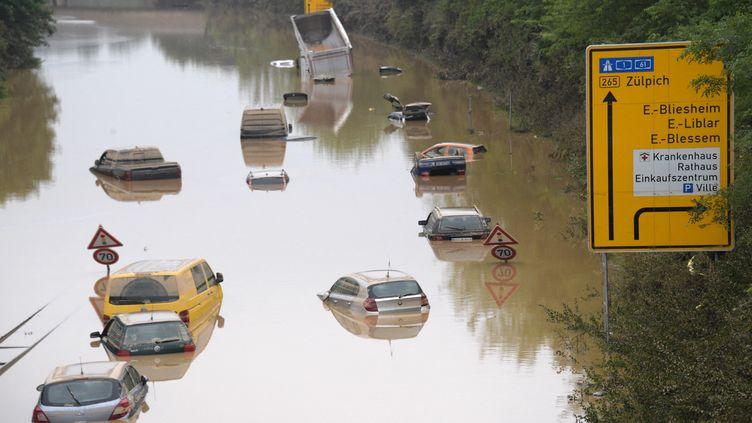 """Les catastrophes climatiques, telles que les inondations meurtrières en Allemagne à la mi-juillet 2021,""""seront plus critiques et plus développées"""", explique le climatologue Hervé Le Treut. (SEBASTIEN BOZON / AFP)"""