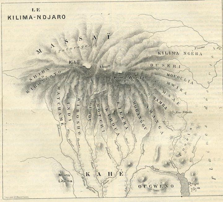 Carte du Kilimandjaro, d'après le dessin d'Alexandre Le Roy, Les Missions Catholiques, 1892 (© O.P.M)