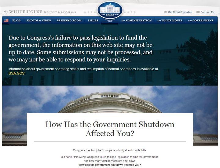 """""""Comment le shutdown vous affecte-t-il?"""" demande la Maison Blanche, sur son blog. (WHITEHOUSE.GOV / FRANCETV INFO)"""
