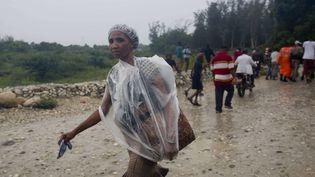 Les fortes pluies frappent Haiti avecle passage de l'ouragan Matthew, Tabarre (Haiti), le 3 octobre 2016.  (DIEU NALIO CHERY / AP / SIPA)