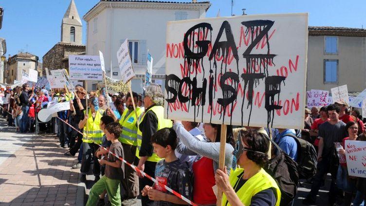 Plusieurs milliers de personnes manifestent le 16 avril 2011 à Donzère (Drôme), contre l'exploitation du gaz de schiste. (PHILIPPE MERLE / AFP)