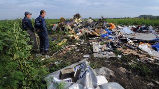 Des employés de l'Etat ukrainien sur le site du crash du vol MH17 àRassipnoe (Ukraine), le 17 juillet 2014. (DOMINIQUE FAGET / AFP)