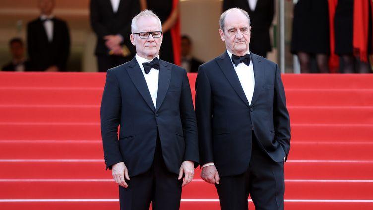 """Thierry Frémaux etPierre Lescure lors de la montée des marches pour le film """"The Meyerowitz Stories"""" à Cannes, le 21 mai 2017. (VALERY HACHE / AFP)"""