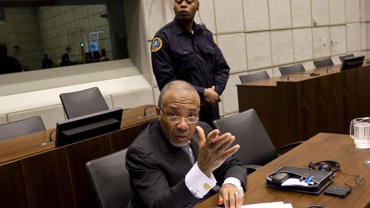 L'ancien président du Liberia Charles Taylor, le 8 février 2011, pendant son procès,à Leidschendam (Pays-Bas) (JERRY LAMPEN / AFP)