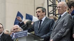 François Fillon lors de son discours place du Trocadéro à Paris dimanche 5 mars. (CITIZENSIDE/SAMUEL BOIVIN / CITIZENSIDE)