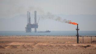 (Le torchage du gaz consiste à bruler le gaz qui s'échappe du puits lors de l'extraction du pétrole © Maxppp)