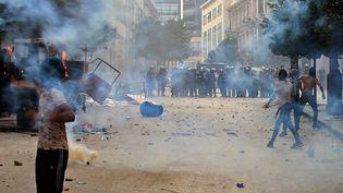 Des manifestations contre les autorités à Beyrouth, au Liban, le 8 août 2020. (ANWAR AMRO / AFP)