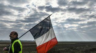 """Un """"gilet jaune"""" défile avec un drapeau français à Dole (Jura), le 17 novembre 2018. (SEBASTIEN BOZON / AFP)"""