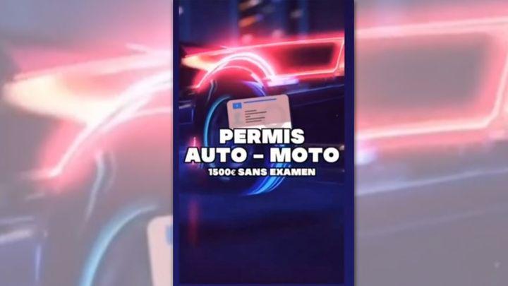 Promotion de faux permis à 1500eurosdans une story Instagram. (CAPTURE D'ÉCRAN)