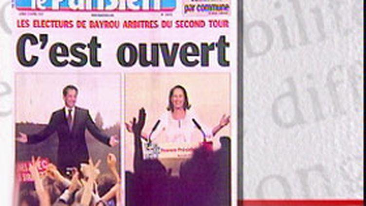 Une du Parisien pendant la campagne des présidentielles de 2007 (© France)