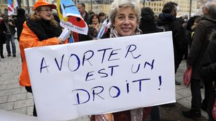 Une manifestation en faveur du droit à l'avortement en Espagne, à Marseille (Bouches-du-Rhône), le 1er février 2014. (FRANCK PENNANT / AFP)