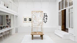 """Vue de salle de l'exposition A la recherche des oeuvres disparues. Au centre une reconstitution documentaire de """"Oiseau silence"""" d'Alberto Giacometti (1930-1933). (Photo Institut Giacometti)"""