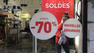 Les soldes à Beasançon (Doubs), en février 2021 (LUDOVIC LAUDE / MAXPPP)