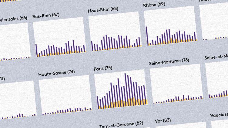 Graphiques des hospitalisations et des réanimations par département (FRANCEINFO)