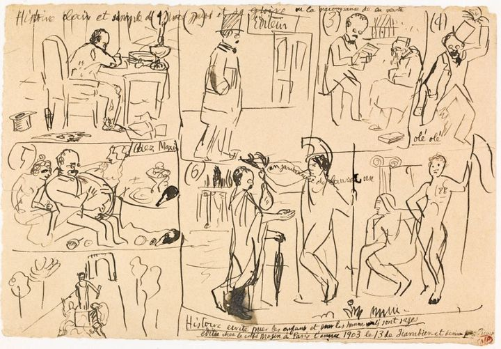 Esquissée en quelques traits rapides, cette œuvre de Picasso évoque une planche de bande dessinée et montre l'apothéose fantasmée et burlesque du poète Max Jacob. (Musée Picasso  © Succession Picasso 2020)