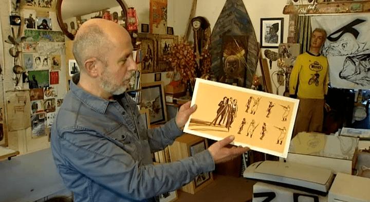 Bruno Pilorget et un dessin inspiré des films des frères Lumière  (Capture d'image France3/Culturebox)