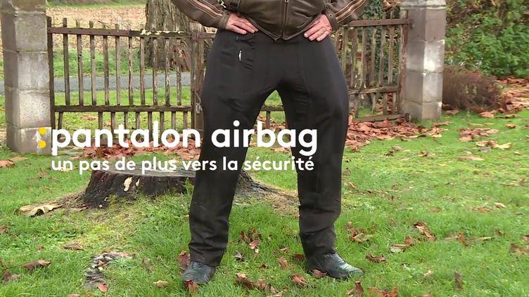 Un sur-pantalon airbag pour protéger les motards et scootéristes. (France 3 Occitanie)