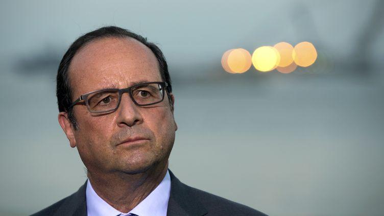 Le président de la République, François Hollande, le 6 août à Suez (Egypte). (PHILIPPE WOJAZER / AFP)
