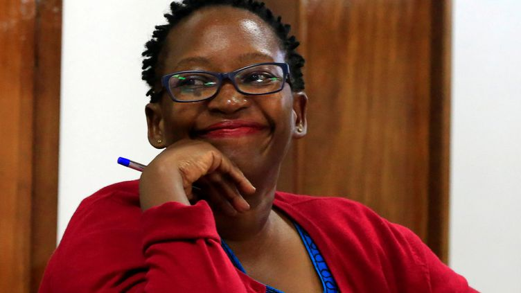 L'universitaire Stella Nyanzi le 26 juin 2019 pendant son procès pour cyberharcèlement au tribunal de Buganda Road, à Kampala, la capitale ougandaise. (JAMES AKENA / X02107)