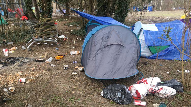 Une tente au milieu des détritus dans le bois de Puythouck à Grande Synthe, dans la périphérie de Dunkerque (Nord), le 9 mars 2021. (FARIDA NOUAR / RADIO FRANCE)