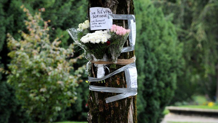 Des mots et des fleurs accrochés à un arbre, là où Kévin et Sofiane ont été tués le 28 septembre 2012 par une quinzaine d'agresseurs, à Echirolles (Isère). (JEAN-PIERRE CLATOT / AFP)