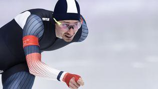 Le patineur de vitesse Alexis Contin participe aux Jeux olympiques, à Gangneung (Corée du Sud), le 11 février 2018. (ARIS MESSINIS / AFP)