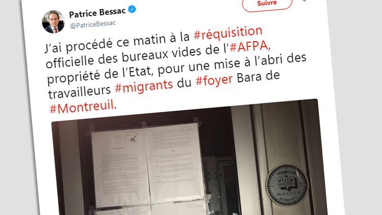 Tweet du maire de Montreuilannonçant la réquisition des bureaux de l'Afpa, le 26 septembre. (CAPTURE D'ECRAN / TWITTER)