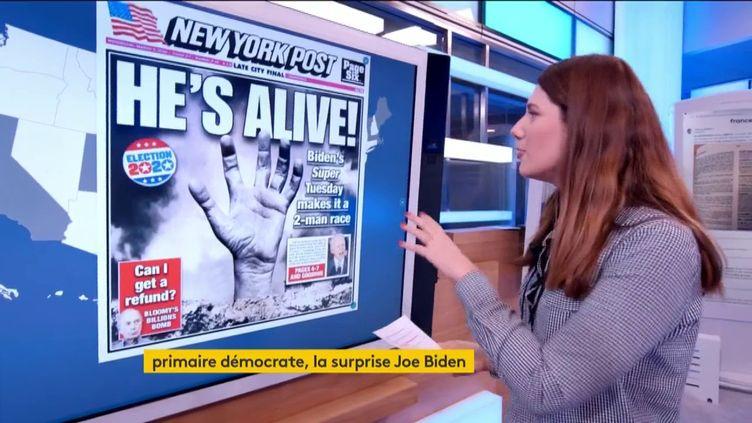 """""""Il est vivant !"""" La une du """"New York post"""" sur Joe Biden (FRANCEINFO)"""