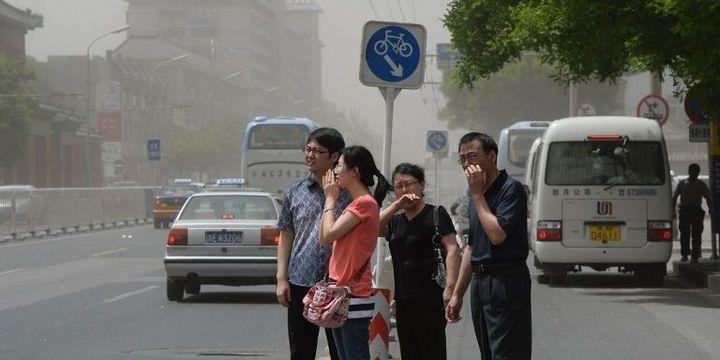 Pic de pollution atmosphérique en janvier 2013 à Pékin (Chine). (MARK RALSTON / AFP )