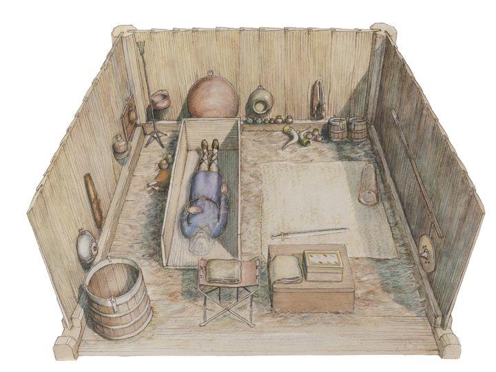 Une reconstitution de la tombe princière de Prittlewell. (MOLA)