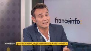 Eric Heyer, directeur du département analyse et prévision de l'OFCE, le 22 octobre à franceinfo. (FRANCEINFO / RADIO FRANCE)