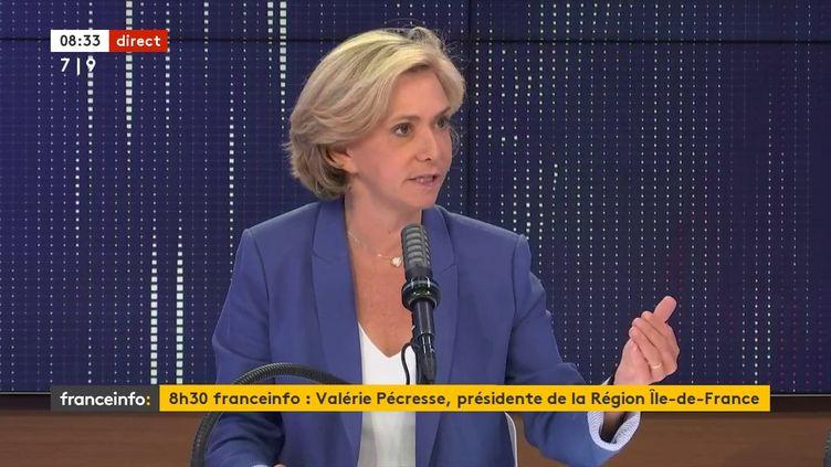 """Valérie Pécresse,présidente de la région Île-de-France et candidate à sa réélectionétait l'invitée du """"8h30franceinfo"""",jeudi 24juin 2021. (FRANCEINFO / RADIOFRANCE)"""