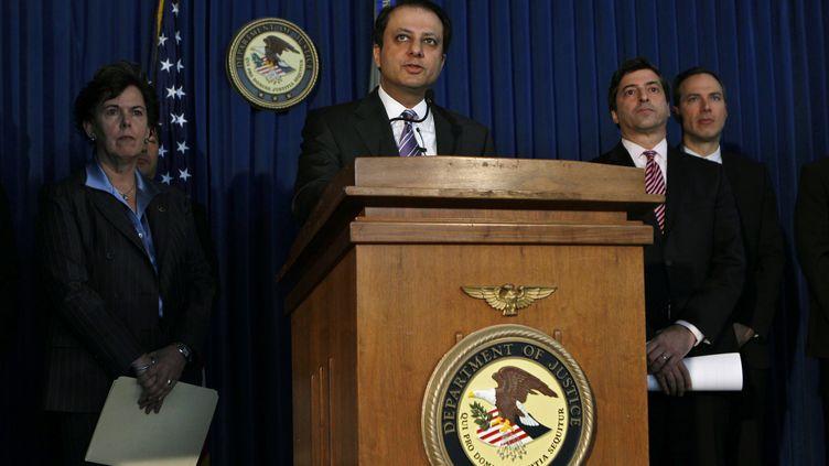 Conférence de presse du secrétariat d'Etat à la Justice américain le 18 janvier 2012 à New York (Etats-Unis). (MIKE SEGAR / REUTERS)