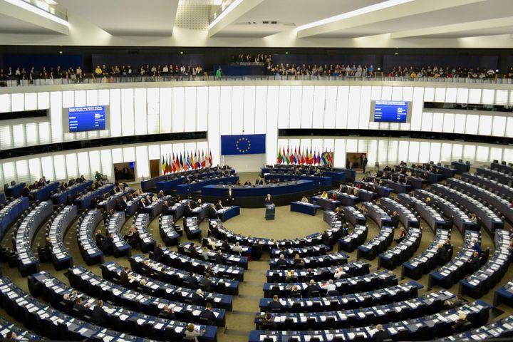 L'hémicycle du Parlement européen à Strasbourg, le 17 avril 2019. (NOEMIE BONNIN / RADIO FRANCE)
