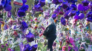 Les fans devant le mémorial installé à l'extérieur de Paisley Park rendent hommage au chanteur  (SCOTT OLSON / GETTY IMAGES NORTH AMERICA / AFP)