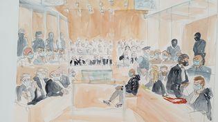 La salle d'audience du procès des attentats de janvier 2015, à l'ouverture des débats, le 2 septembre 2020. (ELISABETH DE POURQUERY / FRANCEINFO)