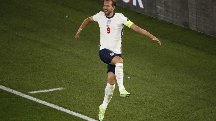 Harry Kane, libéré après son deuxième but contre l'Ukraine en quarts de finale de l'Euro 2021 à Rome, samedi 3 juillet. (ALESSANDRO GAROFALO / AFP)