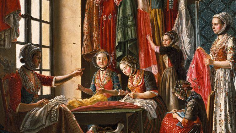 """Exposition """"Antoine Raspal"""" : le tableau L'Atelier de couture. Arles vers 1780, huile sur bois.  (Musée Réattu, Arles)"""