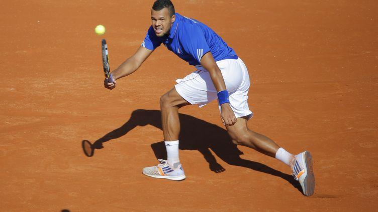Jo-Wilfried Tsonga lors de la demi-finale contre la République tchèque en Coupe Davis, le 12 septembre 2014 à Roland-Garros. (STEPHANE ALLAMAN / DPPI / AFP)