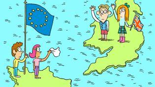 Le Brexit expliqué aux enfants dans le nouvel épisode de Salut l'info !, le podcast de franceinfo et du magazine Astrapi à destination des 7-11 ans. (ASTRAPI / BAYARD PRESSE / EL DON GUILLERMO)