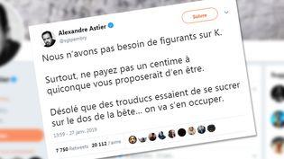 Le compte twitter d'Alexandre Astier où il affirme qu'il n'est pas à la recherche de comédien. (CAPTURE ECRAN TWITTER)
