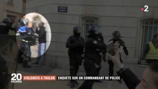 """Capture d'écra d'une vidéo amateur montrant le commandant Didier Andrieux frapper un homme en marge d'une manifestation des """"gilets jaunes"""", samedi 5 janvier 2019 à Toulon (Var). (FRANCE 2)"""