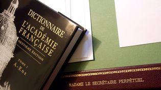Un tome de la 9e édition du dictionnaire de l'Académie française, en cours de rédaction. Il peut maintenant être consulté sur internet  (Jean-Pierre Muller / AFP)