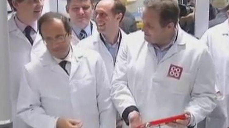François Hollande au Creusot (Saône-et-Loire), le 7 décembre 2011. (VIDÉO : SOPHIE BRUNN ET PHILIPPE FIVET / FRANCE 2)