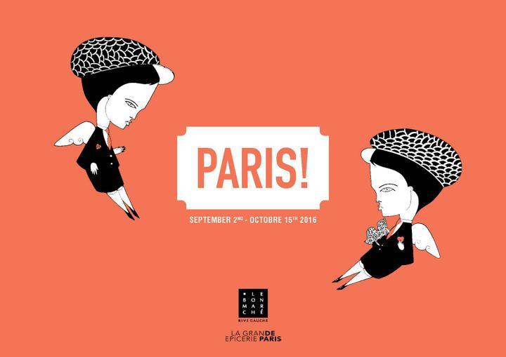 """Affiche de l'exposition """"Paris!"""" au Bon Marché  (Le Bon Marché)"""