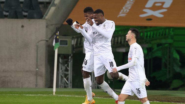Marcus Thuram célèbre son but avec le Borussia Mönchengladbach pour son retour de suspension le 22 janvier 2021 (RALF IBING / AUGENKLICK/FIRO SPORTPHOTO)