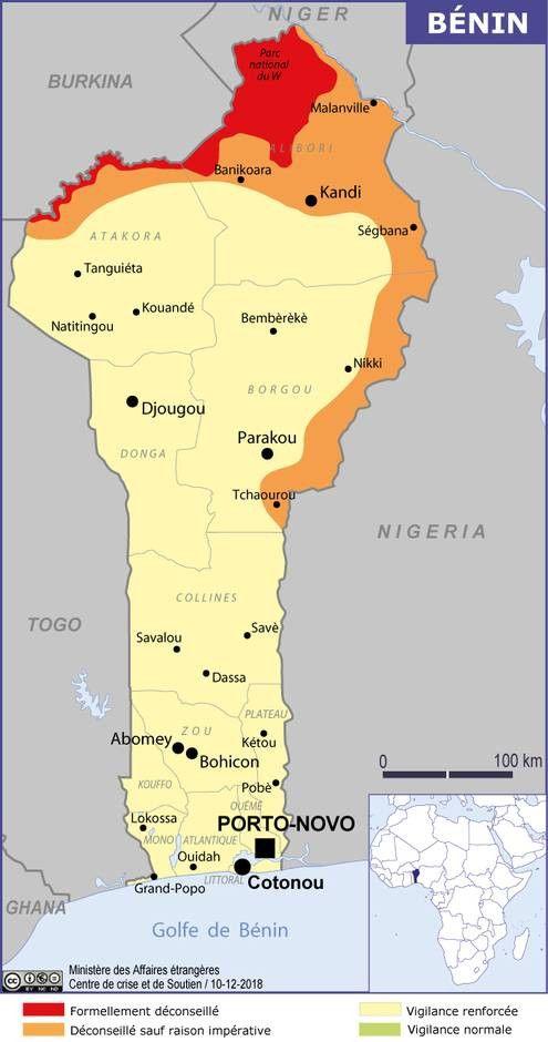 Le ministère des affaires étrangères recommande aux ressortissants français de faire preuve d'une vigilance particulière dans les zones frontalières ainsi que dans les zones isolées ou à faible densité de population, notamment dans le nord du Bénin. (MINISTERE DES AFFAIRES ETRANGERES)