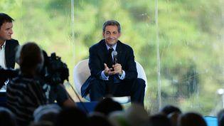 Nicolas Sarkozy à Jouy-en-Josas à l'université du Medef, le 31 août 2016 (ERIC PIERMONT / AFP)