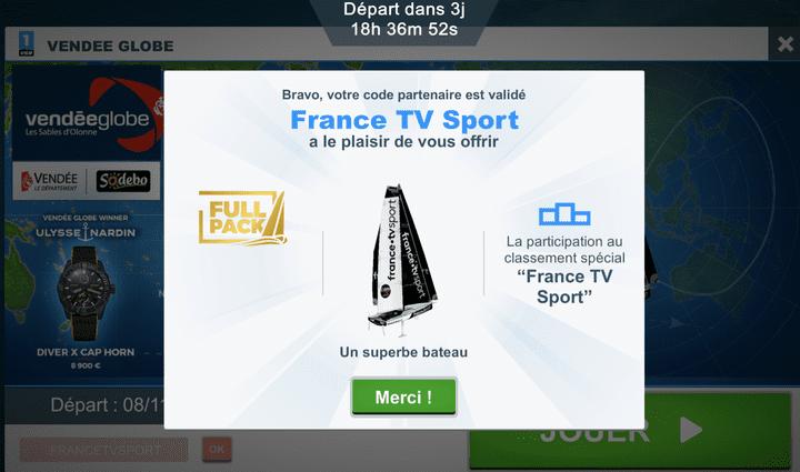 Entrez le code partenaire FRANCETVSPORT et participez au classement France TV Sport.